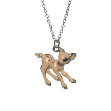 New Brown Enamel Baby Deer Fawn Charm Pendant Necklace in Gift Box