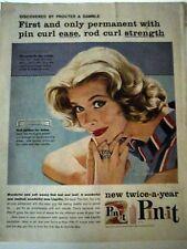1958 Pin-it Hair Permanent w Hair Curl Ease Rod Curl Jon Whitcomb Art Ad