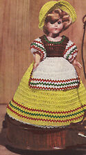 "Vintage Crochet PATTERN to make Doll Clothes Dress Apron Poke Bonnet Hat 8"" Bets"