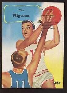 November 2 1958 Basketball Program Philadelphia Warriors at Detroit Pistons EXMT