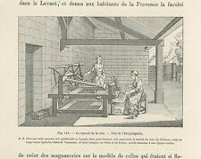 ANTIQUE WORKING WOMAN MAKING SILK THREAD MACHINE FOR FABRIC PAPER OLD ART PRINT