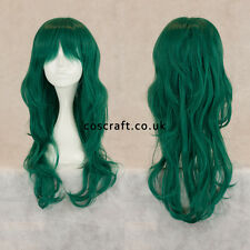Long wavy curly cosplay wig with fringe in midnight dark green UK seller Charlie