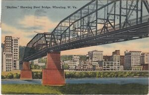 Wheeling, WV - View of Waterfront Skyline From Under the Steel Bridge - 1942