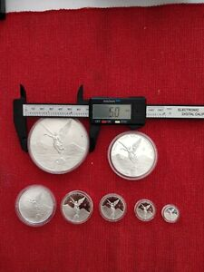 Set of 7 Mexican Silver Libertad Coins from 5oz  to 2, 1 ,1/2, 1/4, 1/10 & 1/20