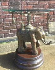 Vintage Bronze Elephant Pedestal Side Table Maitland Smith Style