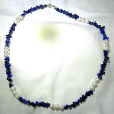 "23.5"" necklace, Lapis Lazuli + Freshwater Pearls"