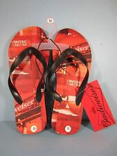 "NEW ! Men's Budweiser Red/Black Flip Flops - Size Medium - ""Vintage American"""