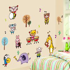 Forest Animal Music Band Removable Wall Stickers For Kids Rooms Decor Decal Art