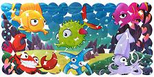 NEW New Ocean Non slip Bath Mat Children Baby Shower Fish Safety Bathtub 28 X 14
