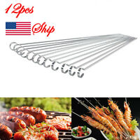 12pcs Metal BBQ Cooking Skewers Stainless Steel Barbecue Kebab Food Grill Sticks