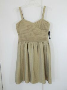 NEW gold ISADORA dress fit flare sleeveless party cocktail evening petite 12 12P