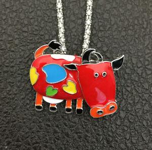 Betsey Johnson Red/Green/Blue Enamel Cattle Cow Pendant Sweater Necklace/Brooch
