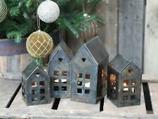 Antique Brass Metal House Tea Light Holder, Hanging Lantern Candle Xmas, Short