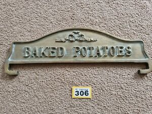 """Vintage Brass Baked Potatoes Sign Plaque Double Sided Solid Heavy 15"""" x 4"""""""