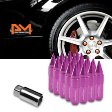 M12X1.5 Purple JDM Hex Spiked Cap Wheel Lug Nuts+Extension 20mmx90mm Tall 20Pc