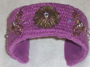 Hand Woven Tapestry Cuff Bracelet One of a Kind Purple Vintage Brass Swarovski