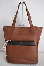 FOSSIL $379 Audri Tote Saddle Brown Pebbled Leather Large Handbag Shopper BNWT