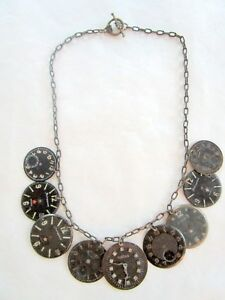 Steampunk Vintage 9 Black unique watch faces necklace handmade one of a kind wow
