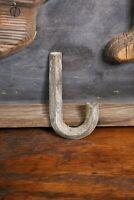 """Early Brass Letter """"J"""" Antique Trade Sign Folk Art Primitive emblem badge old"""