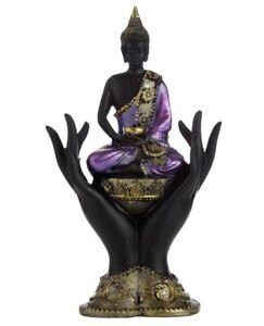 Buddha Black Purple Seated IN Hand 15cm Poly Figurine Buddhism Asian Thai Monk