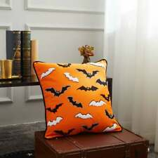 Halloween Bats Orange Pillow Cover
