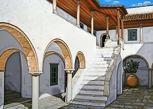 Signed and dated Limited Edition Reproduction Print of a Greek Island Courtyard