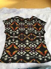 New Look Aztec Brown Black White Top T-shirt Summer Size UK 8 Small