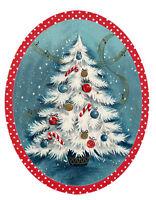 "Waterslide Decals (4pcs 2.5""x3.5"") Vintage Christmas Tree Winter  FLONZ 412-0413"