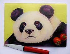 Unique Yellow Glass Chopping Board with a PANDA design by artist Maria Moss