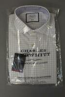 Charles Tyrwhitt Men's Slim Non-Iron Oxford Check Shirt JM4 Blue Size 15.5/32