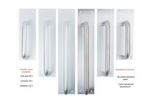 """D Pull Handle On Stainless Steel or Aluminium Push Plate - 6"""", 9"""", 12"""""""