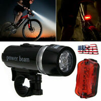 5 LED Lamp Front Rear Tail Light Kit Bright Waterproof Bike Bicycle Mountain MTB