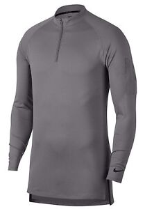 Men Nike Pro Fitted Utility Dry Tech Sport 1/4 Zip Pullover Grey Gray AA1589 036