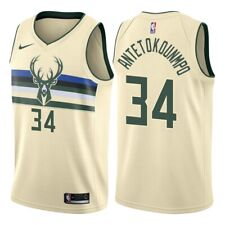 Giannis Antetokounmpo #34 Milwaukee Bucks Men's N Cream w green Buck logo Jersey