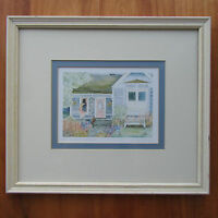 "Framed Cottage Art Print ""Mrs Wyman's Cottage"" H. Downing Hunter 13""x15"" Shabby"