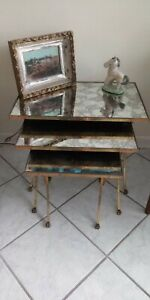 French Neoclassical nesting tables stacking cluster Bronze occasionalfurniture