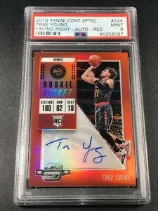 TRAE YOUNG 2018 CONTENDERS OPTIC RED #124 FACING RIGHT AUTO ROOKIE RC /149 PSA 9