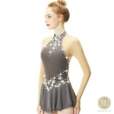 Competition Figure Skating Dress Halter Style Grey