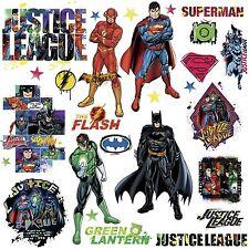 JUSTICE LEAGUE 28 Wall Decals NEW Superman Batman Room Decor Stickers DC COMICS