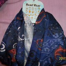 Multi Infinity Scarf Blue Paisley  Multifunctional/ .Headband,scarf,etc