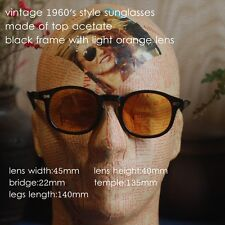 Vintage sunglasses mens women Johnny Depp sunglass frame black light orange lens