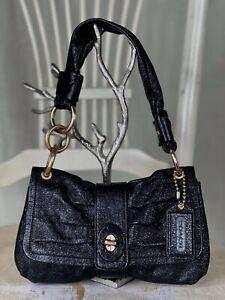 COACH 13409 Black Small Glitter Leather Shoulder Handbag Satchel Hobo Flap
