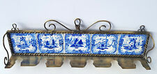 Löffel- Ständer, Messing, Keramik, im Delft Stil, handbemalt, um 1900 AL1332