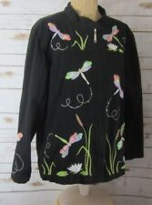 NEW QUACKER FACTORY Womens XL Black Dragonfly Embroidered Zip Stretch Jacket
