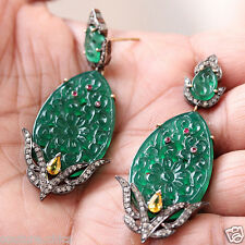 14 K Gold Diamond Pave Onyx Carved Sterling Silver Ruby Dangle Earrings Jewelry