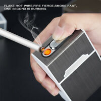 Windproof USB Rechargeable Lighter Cigarette Case Aluminum Box Smoking Flameless