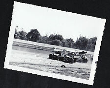 Old Vintage Antique Photograph Vintage Racecars Clumped Together on Track