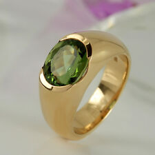 Ring in 585/- Roségold mit 1 grünen Turmalin 3,75 ct NEU Gr. 55