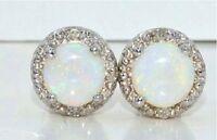 14Kt White Gold Natural 6mm Opal & Diamond Round Stud Earrings