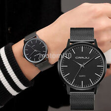 Simple Luxury Slim Mens Stainless Steel Strap Sports Analog Quartz Wrist Watch